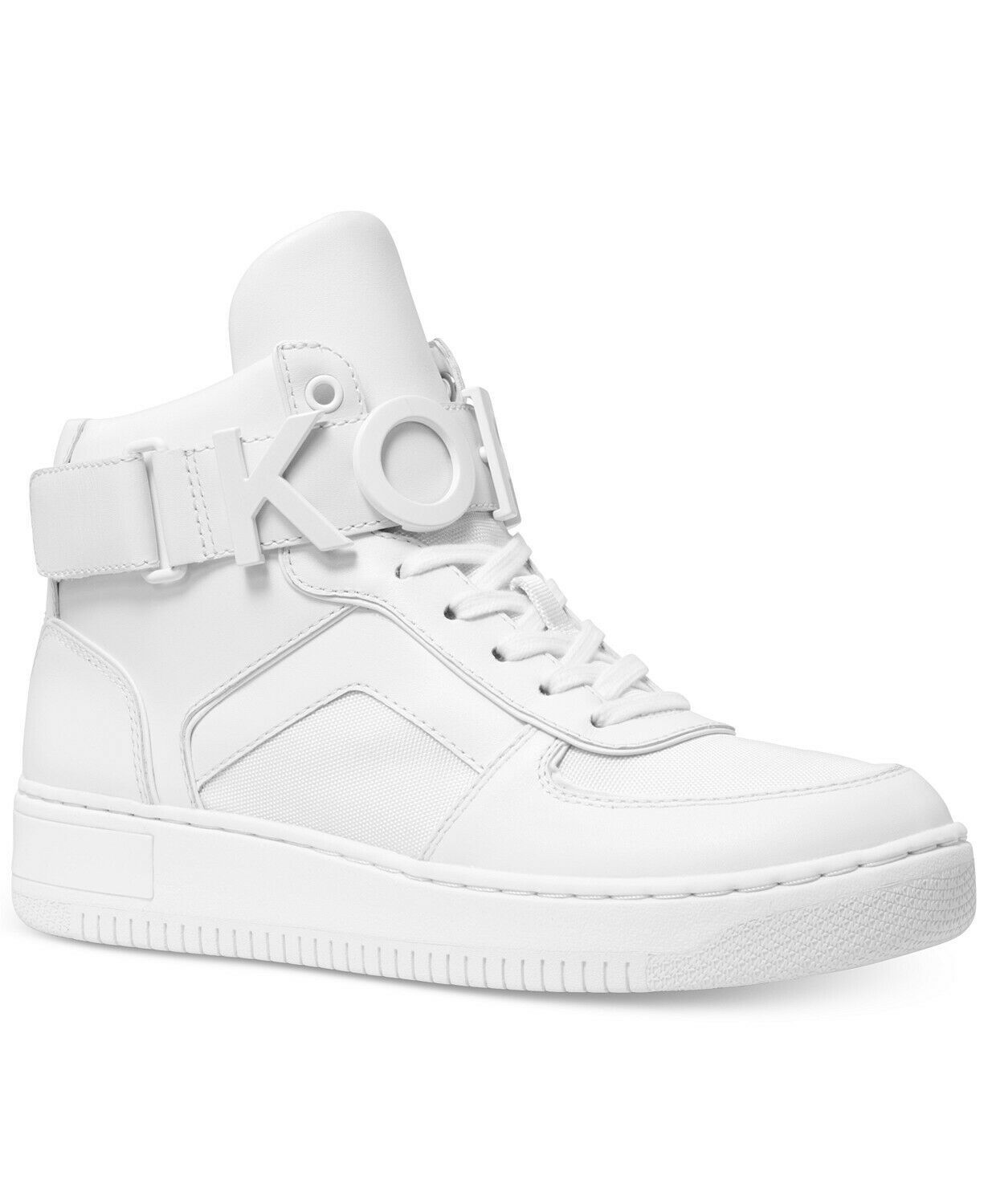 Michael Kors MK Women's Cortlandt High Top Leather Sneakers Shoes White