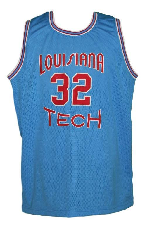 Karl malone  32 college basketball jersey light blue   1