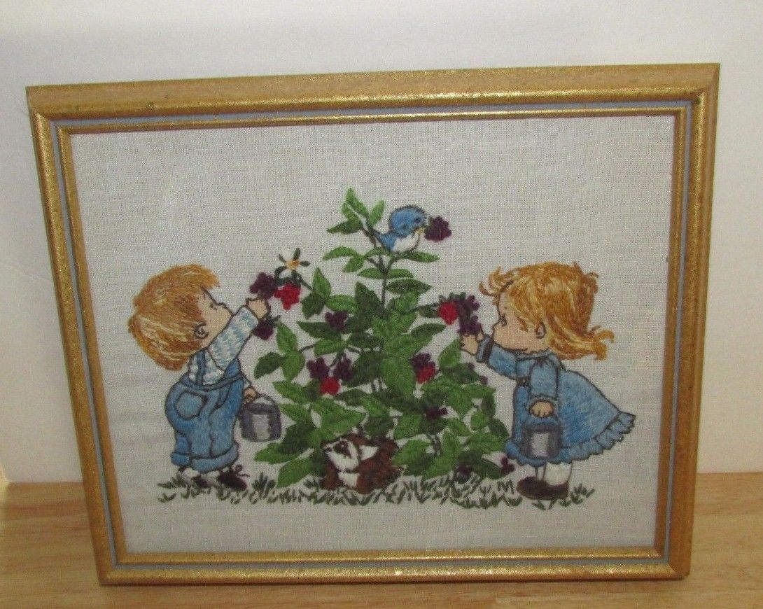 Primary image for Bucilla Kids pickin berries completed framed embroidery boy girl blackberry bird