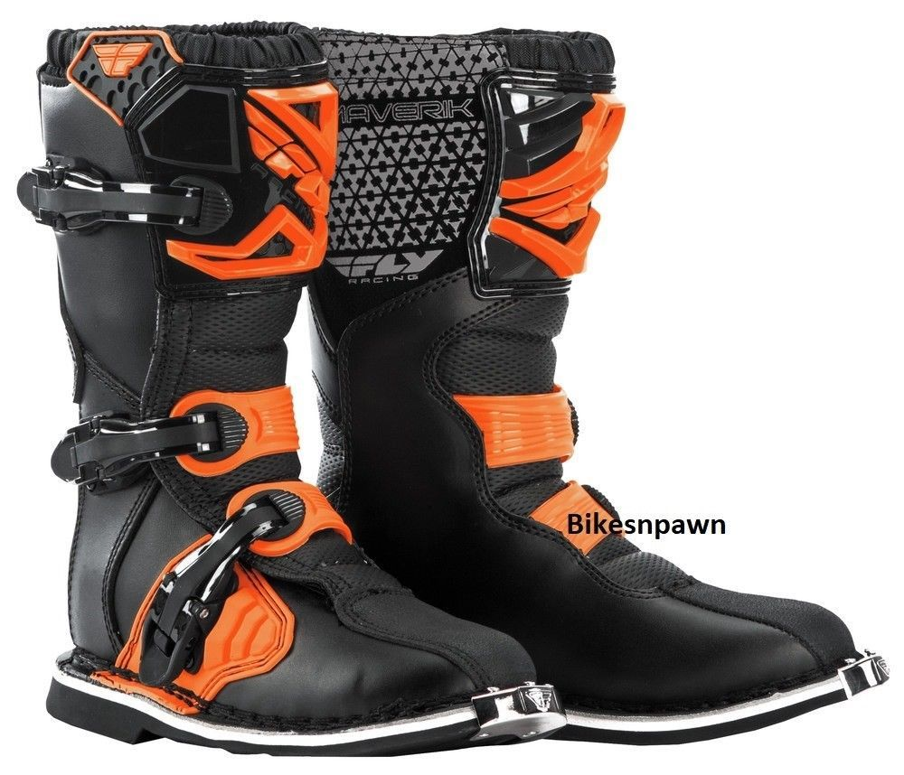 New Youth Size 2 Fly Racing Maverik Orange/Black Motocross MX ATV Boots
