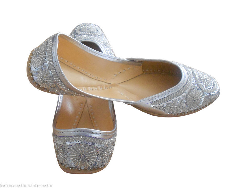 Mojari Indian Women Shoes Flip Flops Silver Leather -8628