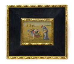 Vintage The Gleaners Women Small Needlepoint Gold Frame With Blue Velvet... - $59.37
