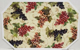 "Set of 2 Kitchen Vinyl Non Clear Placemats(18""x12"") MANY TYPES OF GRAPES... - $11.87"