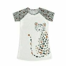 Wonder Nation Cheetah Cat Glitter Cream Nightgown Gown Sleepwear Size XS... - $9.49