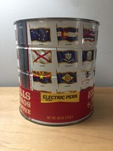 """Vintage 1970 Hills Bros """"Flags of the Fifty States"""" Coffee Can image 3"""