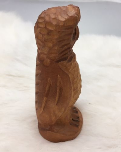 "Vintage Hand Carved Wood Owl Statue Figure 5"" Detailed Carving"
