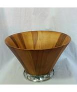 "Vagabond House Salad Bowl Wood Oak Acorn Pewter Base 12"" New - $179.34"
