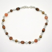 Necklace the Aluminium Long 48 Inch with Tiger's Eye Jade and Hematite image 2