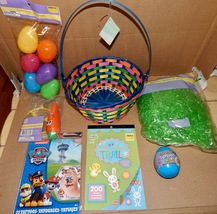 Easter Mix Lot 7 Items Basket Plastic Grass Stickers Eggs Racer Tattoos 163G - $12.49