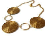 Golden Grass Mandala Necklace, Organic Hoop Necklace, Nature Necklace, Wire Wrap - $44.51 CAD