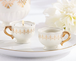 96 Vintage Gold Porcelain Teacup Tea Light Candle Wedding Bridal Shower ... - $217.50