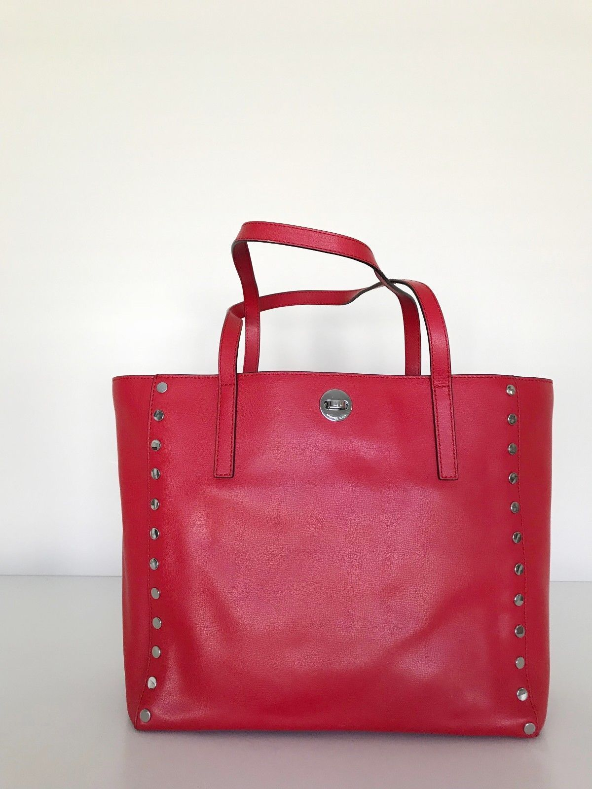 7c3cf6f2d3b8 Michael Kors Rivington Stud Lg Leather Tote Bright Red Tote NEW 100%  Authentic