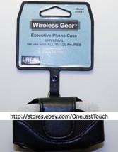WIRELESS GEAR Horizontal PHONE CASE OSFM Black Leather HOLSTER+SWIVEL CL... - $5.93