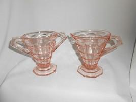 "Indiana Glass Depression Glass ""Tea Room"" Creamer and Sugar Pink - $19.00"