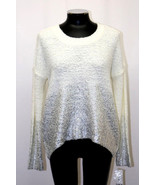 Bar III Sweater Metallic Foil Ombre Long Sleeve Washed White Combo M L M... - $55.99