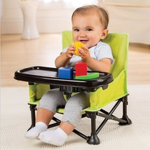 Baby Pop Sit Portable Booster Seat Cute Safe Comfort Home Travel Green/Grey - $36.45
