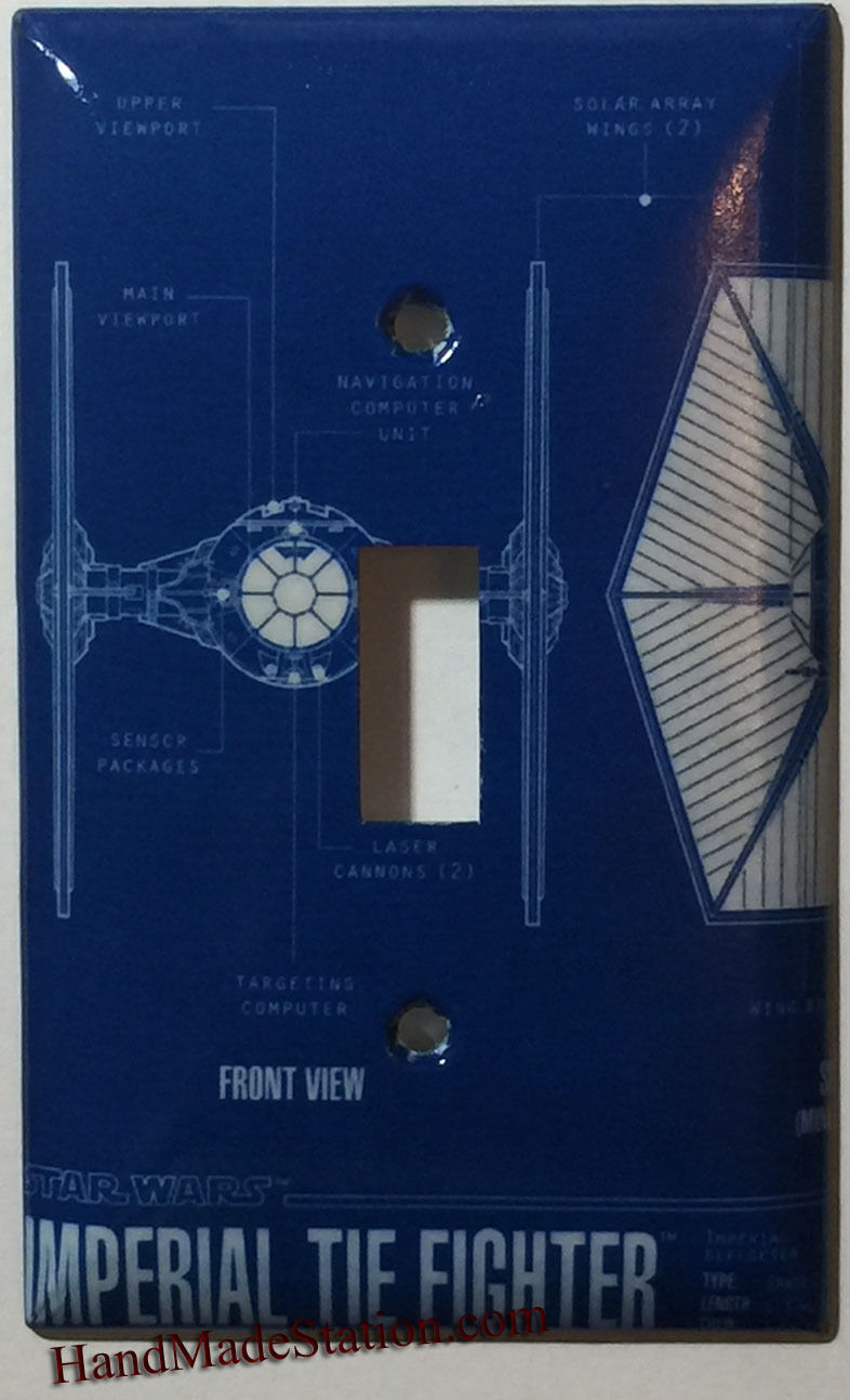 Star Wars Imperial Tie Fighter Light Switch Outlet wall Cover Plate Home Decor