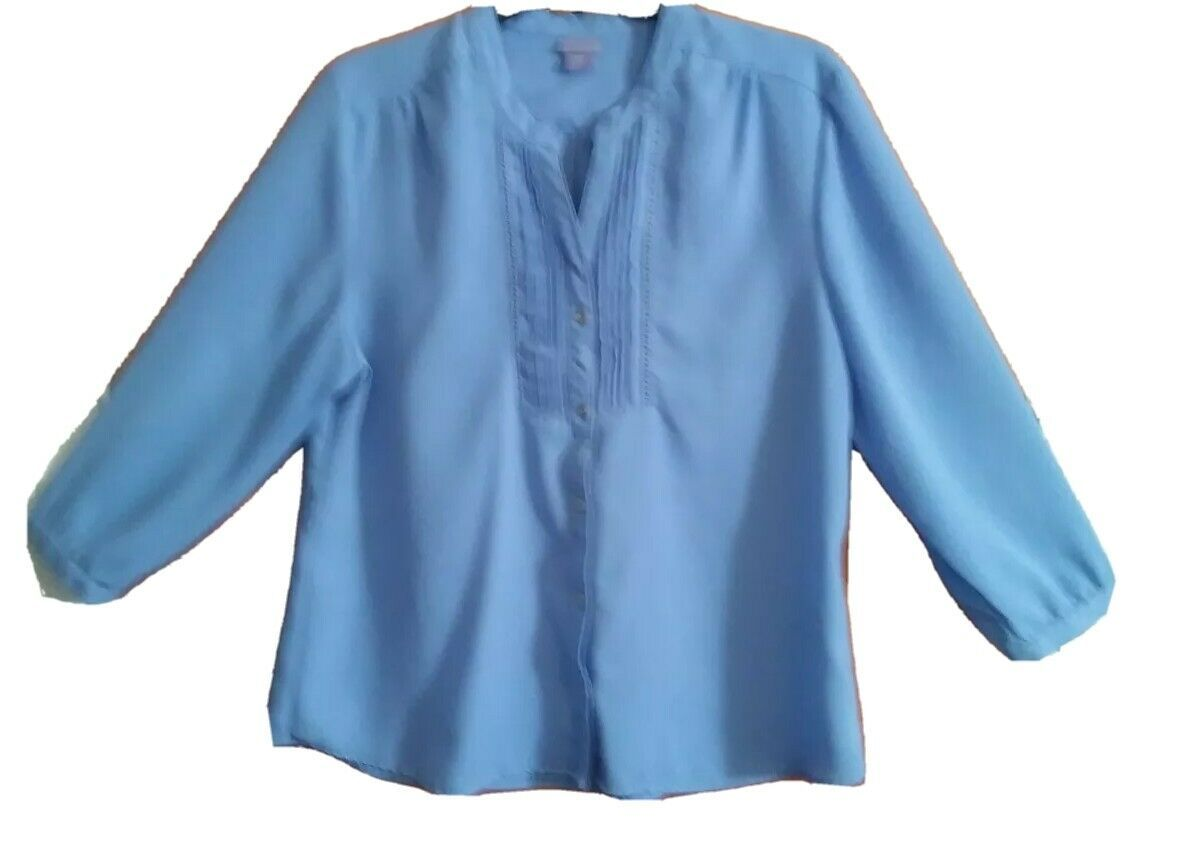 Primary image for Vintage Laura Scott Petite Large 3/4 Sleeve Blue Blouse