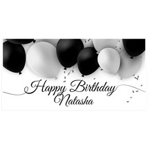 Black and White Balloons Birthday Banner - $22.28+