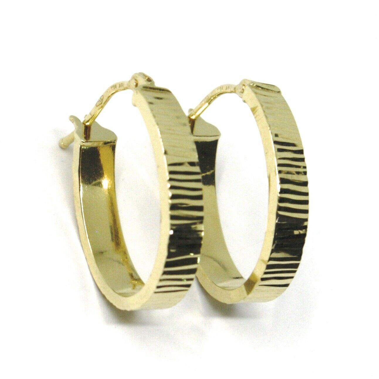 18K YELLOW GOLD CIRCLE HOOPS OVAL SQUARED STRIPED WORKED EARRINGS 20 MM x 4 MM
