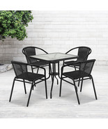 28'' Square Glass Metal Table,Black Rattan Edging,4 Black Rattan Stack Chairs - $190.96