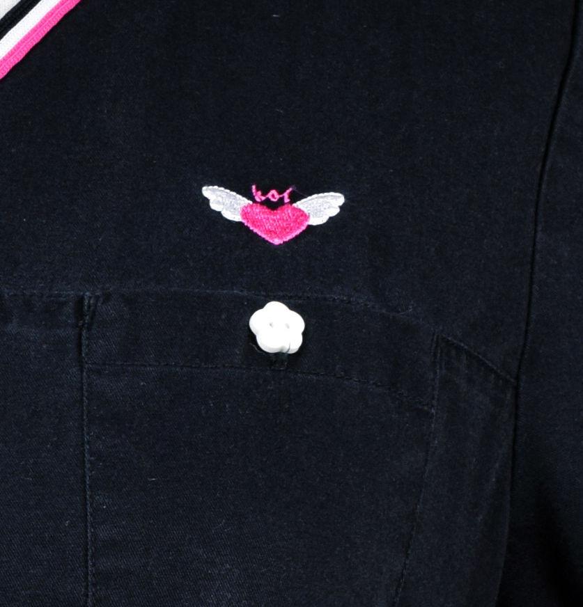 482f02002b5 S l1600. S l1600. Previous. Koi by Kathy Peterson Scrub Top Black with  White & Pink Trim Size S. Koi by Kathy Peterson ...