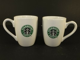Starbucks Coffee Mugs Siren Set of 2 2008 White Ceramic Cup Loop Handle 10.2 Oz. - $18.25