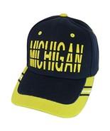 Michigan Window Shade Font Men's Adjustable Baseball Cap (Navy/Gold) - $12.95