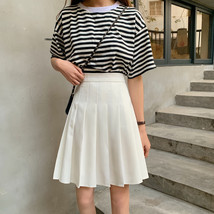 Women Black Pleated Skirt Outfit Plus Size Black Tennis Skirt image 4