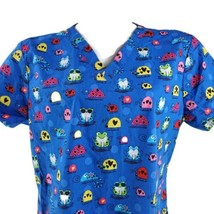Dickies Colorful Psychedelic Frogs Insects Turtles Large Scrub Top - $16.82
