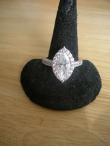 Diamonique Epiphany Sterling Silver CZ Marquise Solitaire & Accents Ring... - $30.87