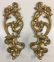 Vtg Pair Candle Wall Sconces Homco 4118 Ornate Gold Rose Scrolls Clean No Damage - $29.69