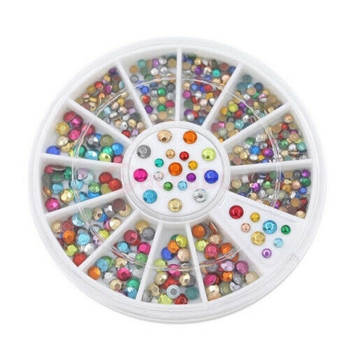 Primary image for MIXED COLORS WHEEL NAIL ART 3D CRYSTAL GLITTER RHINESTONE TIPS DIY DECORATION