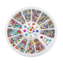 MIXED COLORS WHEEL NAIL ART 3D CRYSTAL GLITTER RHINESTONE TIPS DIY DECOR... - $10.65