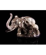 Large silver Elephant statue / Zanfel platta 999 - mama & baby sculpture... - $225.00