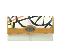 Fossil Marlow Flap Clutch Large Wallet Genuine Leather Multicolor Lavender Green - $49.98