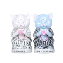 Master Meow All You Need is Love Ceramic Salt and Pepper Shakers Magnetic - $33.76