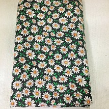 Quilting Joan Kessler White Daisies on Black Cotton Fabric 44 x 28 In T43 - $9.41