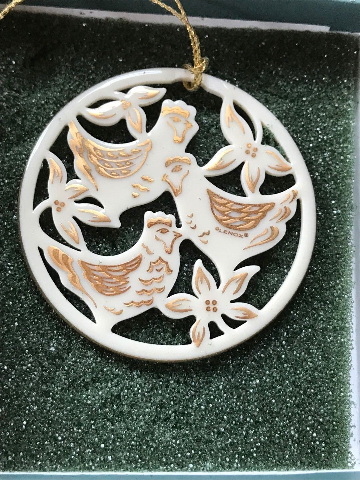 Lenox Days of Christmas THREE FRENCH HENS Cream Porcelain & Gilt Tree Ornament –