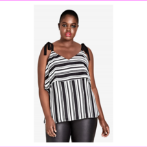 City Chic Women's Self-Tie Shoulder Straps Double V-Neck Stripe it Lucky Top - $29.74