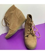 Madden Girl Domain Brown Wedge Booties Suede Size 7.5 USED Tie Light Tan - $24.74
