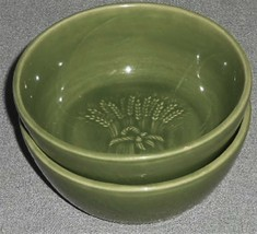 Set (2) Franciscan GREEN WHEAT PATTERN Coupe Cereal Bowls MADE IN CALIFO... - $29.69
