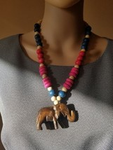 wood carved elephant necklace with wood beads and barrel clasp - $8.90
