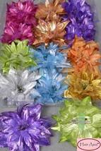 "Large Metallic-and-Chiffon Flower Hair Clip (clip/brooch) 5.5"" - €4,44 EUR"