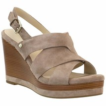 Cole Haan Women's Laci  Stone Taupe Suede Leather Platform Wedge Sandals 7.5 New - $55.00