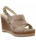 Cole Haan Women's Laci  Stone Taupe Suede Leather Platform Wedge Sandals... - $55.00