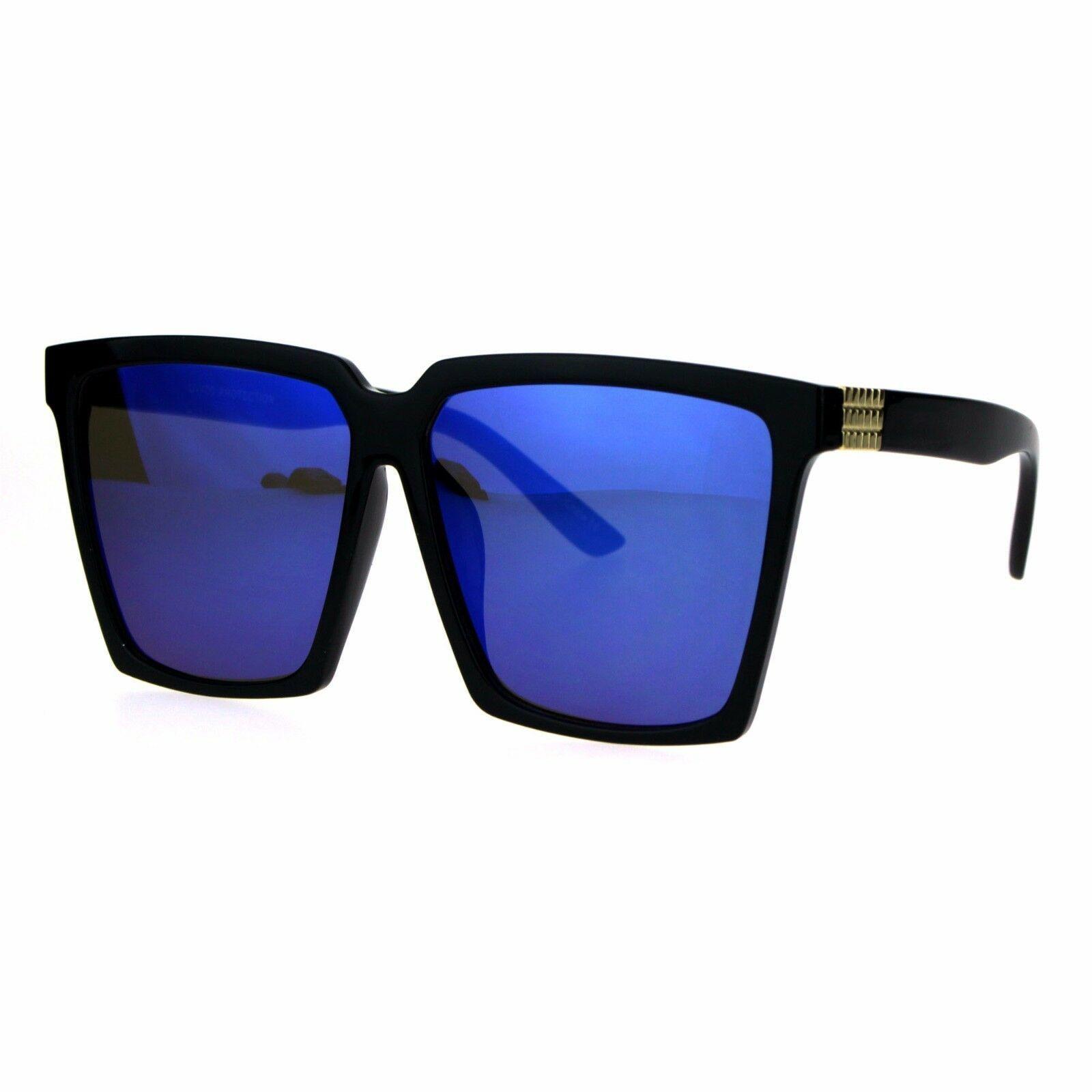Womens Oversized Sunglasses Square Designer Frame Mirror Lens UV 400