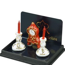 Fireplace Mantel Decoration 1.603/5 Reutter Clock Candles DOLLHOUSE Mini... - $16.40