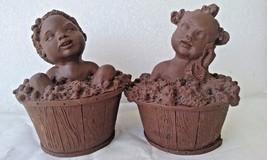 2 Figurine Boy and girl taking a bath Black Americana Pecan Shell Resin ? - $9.99