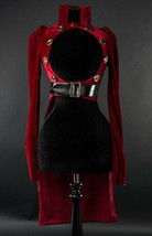 Red Velvet Open Bust Gothic Victorian Steampunk Officer Crop Jacket Tail... - $94.57